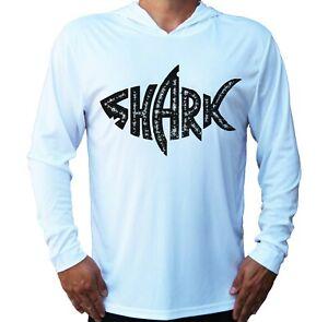 Shark Fishing Sport Beach Sun UV Protected UPF 50 Long Sleeve T-Shirt Hood Boat