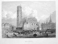 BELGIUM City of Mechelen Malines - 1860 Original Engraving Print