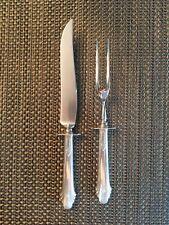 """GORHAM Vintage Sterling Silver Hunt Club Meat Carving c. 1930 10"""" Knife, 9"""" Fork"""