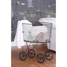 French Vintage Metal Laundry Basket With Wheels Rolling Bin Cart Hamper Elderly