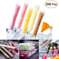 200PCS Disposable Ice Popsicle Molds Bags Clear Zip-Lock Pouch Freeze Pops Bag