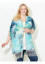 Catherines Kimono Plus Size Fringe Top CoverUp  One Size