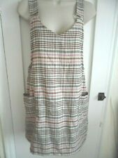 Ladies size 10 Primark cream pink brown blue check smart pinafore strappy dress