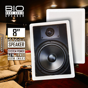 """CT Sounds Bio 8"""" In-Wall Stereo Sound 2 Way Home Theatre Audio Surround Speaker"""