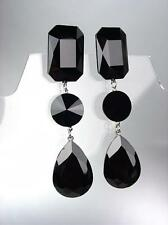 GLITZY Black Onyx Czech Crystals LONG Bridal Queen Pageant Prom CLIP Earrings