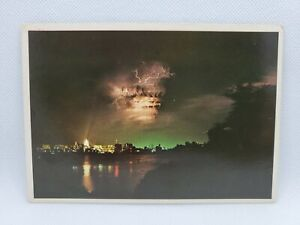 Vintage Wisconsin State Capitol Building At Night Madison Postcard Lighting Bolt