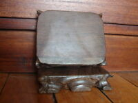 SOCLE PRESENTOIR STATUE BOUDDHA SCULPTURE VASE OBJET VITRINE BOIS 9x11x2,4 cm