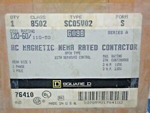 SQUARE D 8502 SC05V02 AC MAGNETIC CONTACTOR  110/120V COIL NEW