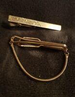 2 x Vintage Stratton Imitation England Gold Tone Chain Gentlemens Tie Slide Clip