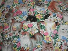 Daisy Kingdom fabric #3693 Paws in the flowers allover large cats 1998 OOP 1yd