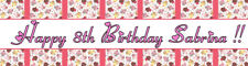 4ft Personalized Name Pink Cupcake Sweet 16 Birthday Baby Shower Party Banner