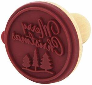 BIRKMANN German MERRY CHRISTMAS Wooden Rubber COOKIE Stamp STAMPER NWT New