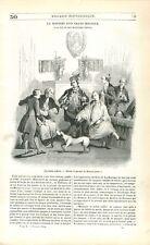 Costume du 18ème Siècle la Petite Toilette Dessin de Moreau Jeune GRAVURE 1842