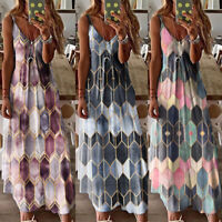 Women Summer Floral Long Spaghetti Dress Ladies Boho Beach Holiday Maxi Dress US