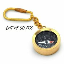 Nautical Brass Compass Key chain Small Brass Direction Compass Lot of 50 Pcs