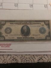 LARGE 1914 $10 DOLLAR BILL FEDERAL RESERVE NOTE OLD PAPER MONEY CURRENCY JACKSON
