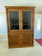 Early 1900 restored Oak Tall cabinet with Glass doors Great Shape