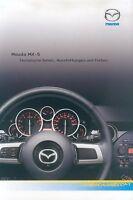 Mazda MX-5 Prospekt Technische Daten 29.8.05 brochure 2005 Auto Broschüre specs