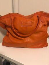 "AUTHENTIC Alexander McQueen  ""De Manta"" Orange Large Leather Tote Bag"