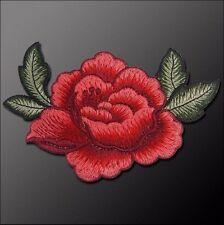 ACD24 - APPLIQUE DENTELLE BRODÉE ** 14 x 8 cm ** ROSES FLEURS FEUILLES