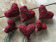 Set/6 Primitive Valentine Heart Ornaments Bowl Fillers Grungy Rusty Wire Sisal