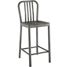 Modway Clink Brushed Metal Counter Stool In Silver - Restaurant | Patio | Deck |