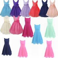 Flower Girl Dresses Kids Bridesmaid Party Princess Wedding Christening Bow Dress