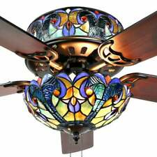 """Blue Stained Glass Tiffany Style 52"""" Ceiling Fan - Pull Chain and 2 Color Blades"""