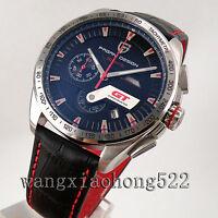 44mm PAGANI Quartz Chronograph Black Dial Red Speedometer Date Mens Watch