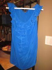Filtre Royal Blue Ruffle Silk Blouse Shirt Top Sleeveless Nordstrom XS