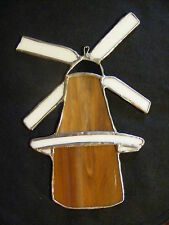 """Large Stained Glass Suncatcher Windmill Brown and White 8.5"""" x 5.5"""" __C4"""