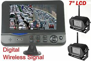 "7"" DIGITAL WIRELESS TWO (2) Backup Camera SPLIT screen REAR VIEW 0% interference"