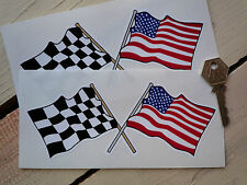 Crossed Check & Stars & Stripes 4in Racing Car stickers