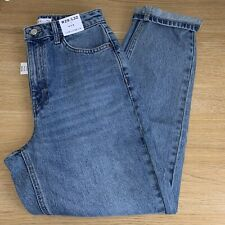 BNWT Topshop Mid Blue Ripped Mom Jeans - W28 L32 - UK 10