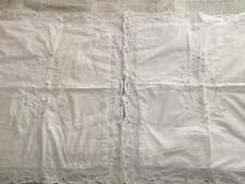2 Shabby Cottage Country French White Embroidered Pillow Sham Case Covers