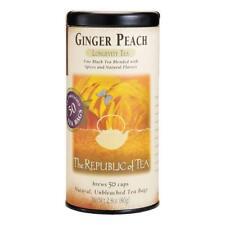 Republic of Tea Ginger Peach Black Tea Longevity Tea Bags 50 Sachets
