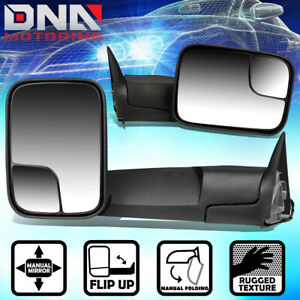 FOR 1994-2002 DODGE RAM TRUCK 1500 2500 3500 PAIR MANUAL SIDE VIEW TOWING MIRROR