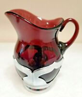 Cambridge Amethyst Glass Farber Bro Chrome Overlay Art Deco Creamer Antique