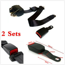 2X Black Iron Plate style Car Adjustable Retractable 3 Point Safety Seat Belts