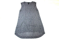 H&M dunkel graue Long Bluse 38 ohne Arm A-Linie Mini Kleid Sommer leicht TOP #61