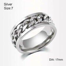 Fashion Men Silver/Black/Gold Titanium Steel Rotatable Chain Band Ring Jewelry