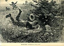 Und doch entwischt - Schmetterlinge fangen -- O.Schulz - Holzstich -- aus 1895 -