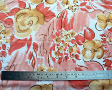 Vintage Peach Brown Floral Print Polyester Fabric 1.7m x 160cm Material Flowers