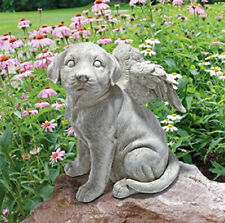 Outdoor ANGEL WING DOG MEMORIAL STATUE GRAVE MARKER Puppy Headstone Sculpture