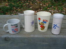 3 Vintage Olympic Cups Glasses 1980 1984 & World Cup 1994 soccer cup/handle