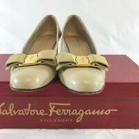 Salvatore Ferragamo Women's Shoes Vara Almond Toe Bow Biege Calf Leather 7AAAA