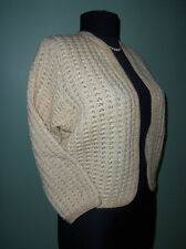 British Vogue Gold METALLIC Buttonless BOLERO 3/4 Slv Crop CARDIGAN Sweater 42