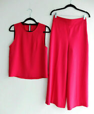 Zara pink fuchsia culottes cropped trousers pants top set wedding S UK 8 EUR 36