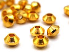 10 x Metallperle, kleiner Doppelkegel, Spacer, 3 mm, vergoldet; G198