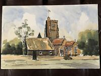 ORIGINAL SIGNED WATERCOLOUR INK PAINTING ST ANDREWS CHURCH ROCHFORD ARCHITECTURE